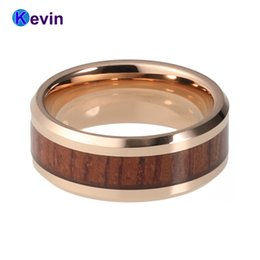 Wholesale Tungsten Wood Inlay Wedding Band - gold tungsten rings Very beautiful rose gold color tungsten ring with red wood inlay nice wedding band