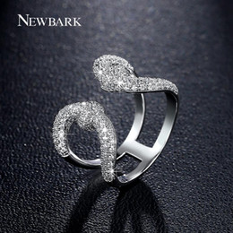 Wholesale Copper Symbols - NEWBARK Vintage Crown Open Women Rings Lovely Lady Double U Silver Color Great Quality Zirconia Stone Queen Symbol Finger Ring q170720