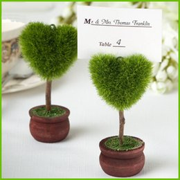 Wholesale Wedding Table Tree Holders - potted plant love heart tree Place Card photo Holders Baby Shower Gifts & Wedding Favors party gift Table Card Holder S2017371