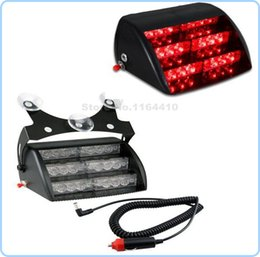Wholesale Emergency Windshield Light - 3led x6 18 LED Car Emergency Vehicle Flashing Strobe Warning Light Lamp 18LED 3 Modes for Windshields Dashboard Red Free Mail