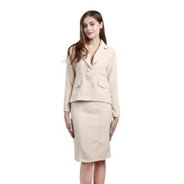 Wholesale Ladies Knit Suits Dresses - Women's Two Piece Sets Fashion Long Sleeve Split Office Lady Career Tops And Skirts 2 piece Sets Professional Skirt Suits Women