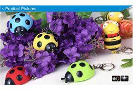 Wholesale Ladybird Ring - Ladybug Ladybird Key Chain Ring with LED Light and Sound Kid Toy gift