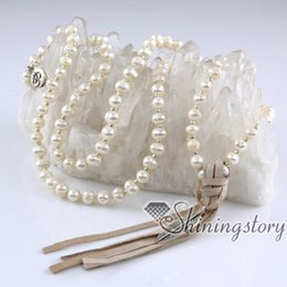 Wholesale wholesale long beaded necklaces - baroque freshwater pearl necklace hindu prayer beads 108 buddhist prayer beads mala bead necklace long boho necklace freshwater pearl jewelr
