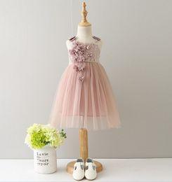 Wholesale Belt Bud Dress - 2017 Summer Children Girls Dress Princess Dress Korean Three-dimensional Flower Bud Silk Embroidery Condole Belt Dress J6013