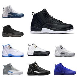 Wholesale Blue Sky Wool - 2017 cheap air retro 12 Black Nylon Mens basketball shoes Taxi the master wolf grey gamma blue playoffs ovo white wool sneakers