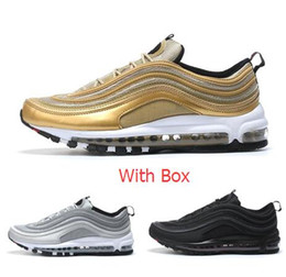 Wholesale Canvas Lace Up Shoes Women - Max 97 OG Metallic Gold Silver Bullet Running Shoes with Box Men and Women Fast shipping by EMS