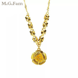 Wholesale 24k Pure Gold Necklaces - (213N) MGFam Happiness Blooming Flower Pendant Necklace For Women 45 cm Embroidery 24k Pure Gold Plated Bride Wedding Jewelry
