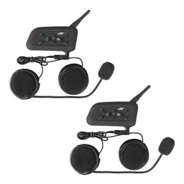 Auricular para intercomunicador online-2x BT Motocicleta impermeable y Scooter Auricular Bluetooth / Intercom Casco deportivo Intercom Bluetooth Interphone Headset 1200m Rider