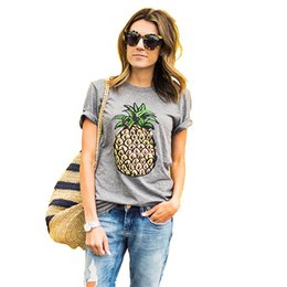 Wholesale Fruit T Shirts - 2017 Women's T-Shirt Summer Wish Burst Fruit Pineapple Print Round Necklace printing T- shirt Sweet Gray Black Two-Colo
