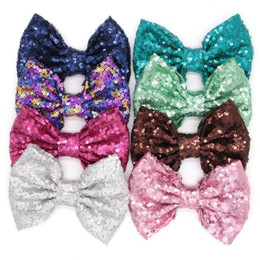 Wholesale Felt Clips - Children Sequins BOWS 5 Inches kids glitter felt hair BOWS without clips girls DIY princess accessories 38 color R0447