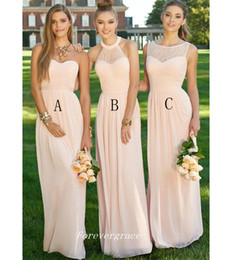 wedding maids fashion dresses Promo Codes - Blush Pink Colour Bridesmaid Dress Fashion Five Styles Pleats Chiffon Long Maid of Honor Wedding Guest Dress Custom Made Plus Size