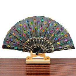 Wholesale Wholesale Sequins China - Chinese Traditional Styles Cloth Fan 9 Inch Peacock Feather Embroidery Colon Sequins Design Black Plastic Folding Hand Fan Multi-color