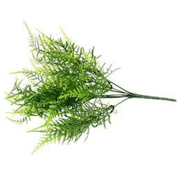 Wholesale Floral Stems - Wholesale- Plastic Green 7 Stems Artificial Asparagus Fern Grass Bushes Flower Bonsai Home Garden Floral Accessories