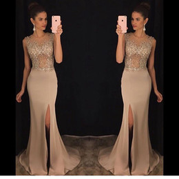 Wholesale Slinky Black Sexy Dress - Mermaid Prom Dresses 2017 for Girl Slinky Champagne abendkleider Side Slit Beaded See Through Stretch Satin Evening Party Gowns