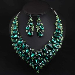 Wholesale Dinner Plates Wedding - Europe and the United States big green crystal necklace earrings earrings set of African women's wedding dress party dinner