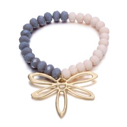 Wholesale Color Dragonfly Charms - 2017 New Fashion Crystal Bouble Color Beads Bracelet Gold Plated Nature Dragonfly Charm Bracelets & Bangles for Women Accessories Jewelry