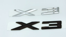 Wholesale Black Chrome Letters - 1pcs ABS Chrome Black X3 Letters Number Trunk Rear Emblem Decal Badge Sticker for BMW X3
