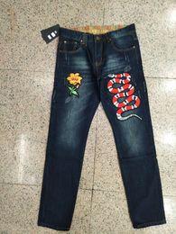 Wholesale Mens Embroidered Jeans - Mens Jeans Slim Fit Embroidered Snake Men Biker jeans Denim Denim Pants Male Brand Designer Flower Male Jeans Trousers