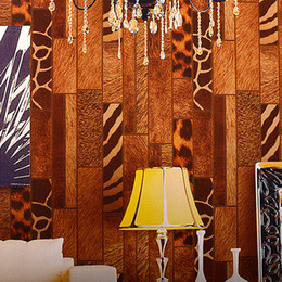 Wholesale Leopard Print Paper - Wholesale-Vintage Style Wallpaper Designs Wood Grain Wall Paper Retro Coffee Shop Leopard Print Wallpapers Vinyl Bar Wallpaper for Walls