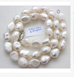 Wholesale South Sea Pearls White - Wholesale Free delivery Jewelry Women's Girl's classic 10-11mm south sea natural baroque white pearl necklace