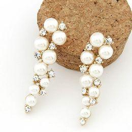 Wholesale Pearl Diamond Earings - Stud Earrings Brand Bijoux Fashion 18K Gold Charm Crystal Cubic Zircon Diamond Pearl Beads Stud Earrings Women's Jewelry Gift Pearl Earings