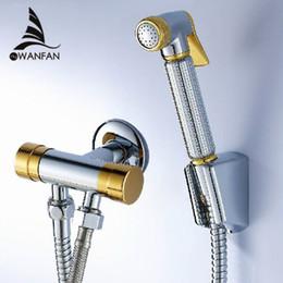 Wholesale Car Wash Guns - Chrome and Golden Angle Copper bathroom toilet shower blow-fed spray gun nozzle bidet faucet versatile,Garden use car wash 8898