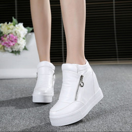 Wholesale Lace Up Hidden Wedge - Hot Sales new spring Autumn silver White Hidden Wedge Heels Casual shoes Women's Elevator High-heels shoes for Women