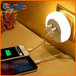 Wholesale Novelties Port - Novelty LED Night Light with 2 USB Port for Mobile Phone Charger Light Sensor Atmosphere Lamp For Bedroom Living Room Warm White