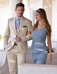 Wholesale Stylish Wedding Blazer - Champagne Men Suits Stylish Grooms Men Beach Wedding Tuxedo Custom Terno Masculino (Jacket+Pants) Men's Prom Party Suits Blazer Slim Fit