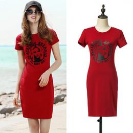 Wholesale European Summer Mini Dress - European casual wear letter dress red slim short dresses above knee short sleeve sport dress summer