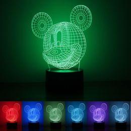 Wholesale night light changes colors - Lovely Mouse Shape 3D Night Light Hologram Atmosphere Desk Lamp 7 Colors Change LED Lights Hot Sale 27rm B