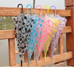 Wholesale Clear Spot - Transparent Clear Spot Umbrella Long Handle PVC Umbrellas Beach Wedding Party Favor Colored Spot Umbrellas for Women Girls wa3236
