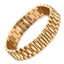 Wholesale 18k Men Gold Plated Watches - 15mm Luxury Men Watch Band Bracelet Gold Plated Stainless Steel Strap Links Cuff Bangles Jewelry Gift