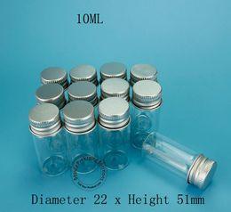 Wholesale Cosmetic Pots Wholesale - Promotion High Quality Makeup Tool 10ml Glass Sample Bottle With Aluminium Cap 1 3OZ Cosmetic Pot Refillable Jar 12pcs lot
