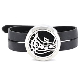 Wholesale Perfume Leather - Free with felt pads! Hot 30mm stainless steel twisted-off essential oil diffusing perfume locket wrap bracelet with black leather band