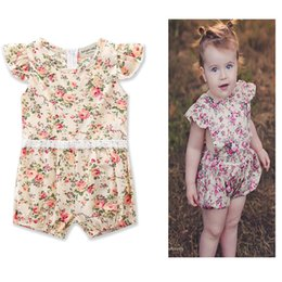 Wholesale Vintage Baby Outfits - 2017 Infant Ruffled lace romper Baby Summer boutique vintage Flower Jumpsuits Girl one-piece romper toddle clothes Infant summer outfits