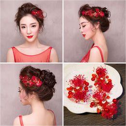 Wholesale Toast Suits - Woman headdress hair Lomen Red Star bride headdress hairpin flowers Wedding Toast suit red edge hair 154108