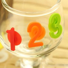 Wholesale Numbered Wine Glasses - Wholesale-14pcs lot personality numbers wine glasses drinking tag set glass markers bottle drink label Silicone markers for party YL872206