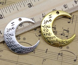 Wholesale Wholesale Animal Charms - Wholesale Lot Silver Golden I Love You To The Moon And Back Alloy Charms Pendant Jewelry Making DIY Jewelry Findings Animals 29x27mm