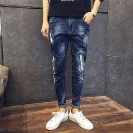 Wholesale Mens Gray Jean Pants - Sell like hot cakes -Slim Fit Denim Joggers Mens Joggers Jeans Stretch Elastic Jean Pencil Pants Casual