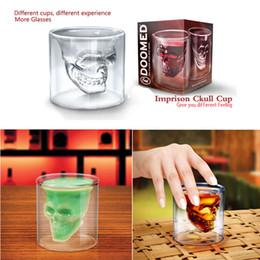 wodka kristallglasflasche Rabatt Schädel Kopf Schuss Glas Tasse Wein Becher Bierglas Becher Crystal Whiskey Vodka Tee Kaffeetasse 75 ml Geschenk Wasserflasche