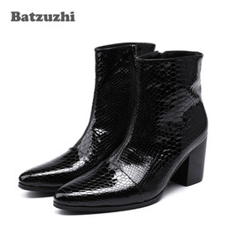 Wholesale Wedding Boots For Men - 7CM High Heels Men Boots Pointed Toe Black Leather Boots Men Handsome Ankle Boots for Men Wedding & Party, Size 38-46