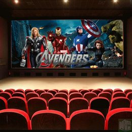 Wholesale Heat Movies - Free Shipping 3D Stereo Avengers Marvel Movie Wallpaper KTV Cinema Decorative Painting Living Room Wallpaper Mural