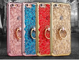 Wholesale Cell Phone Crystals Cover - Cell Phone Bling iPhone7 Cellphone Case 3D Electroplating Soft TPU i Phone Crystal Rhinestone Cover for iPhone 6 6s 7 Plus 4 Colors