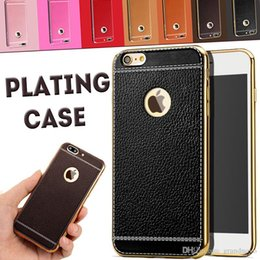 Wholesale Litchi Phones - Litchi grain luxury Plating Soft Leather TPU silicone phone case For iphone 5S SE 6s plus Frame clear cover For iphone 8 7 Samsung S8