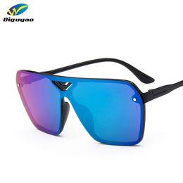 Wholesale Wholesale Conjoined - Wholesale- DIGUYAO Stylish Women Rimless Sunglasses Conjoined Lens Oversize Men Mirror Coating Street Beat Sun Glasses UV400 mens sunglass