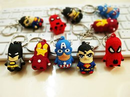Wholesale Iron Spiderman - The Avengers Captain American anime superhero spiderman batman Iron Man, Thor IRON MAN PVC keychain 3D 3-4cm figures key chain