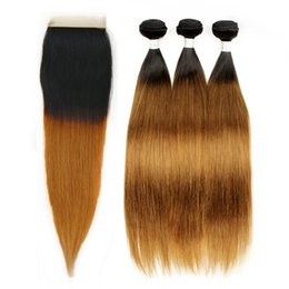 Wholesale Human Hair Straight 1b - Ombre Human Hair Silky Straight T 1b 30 Dark Root Ombre Hair 3 Bundles with Lace Closure Colored Peruvian Hair Free Part Closure