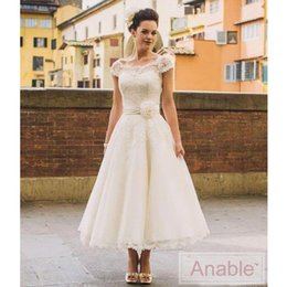 Wholesale Ivory Wedding Dresse Short - 2016 Wedding Dresse NewTea Length Lace Beach Wedding Dresses A Line Appliques Sheer Cap Sleeves Bridal Gown Short Party Dresses Bridal Gowns