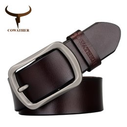 Wholesale Cow Gift Wrap - Wholesale- COWATHER brand classic men's cow genuine leather male dress pin buckle strap fashion adjustable black brown coffee gift wrap
